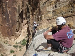Rock Climbing Photo: Andy at the top of Sidewinder. photo Jim Shimberg