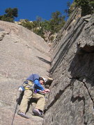 Rock Climbing Photo: Tommy getting a nut in on the start off a solid st...