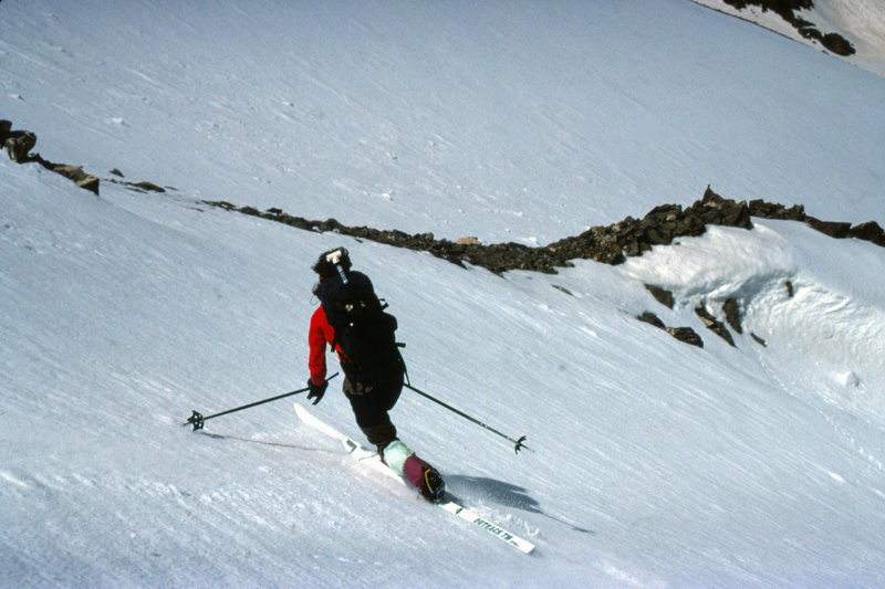 The NE Fork of Torrey's Wishbone Couloir just above the junction with the SW Fork. June 1991