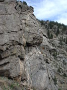 Rock Climbing Photo: Climbing the third pitch, most of the route is vis...