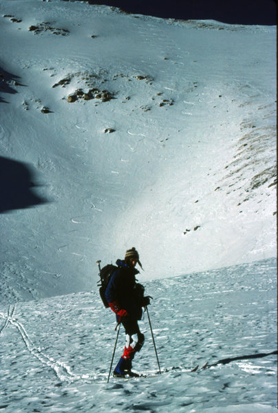 Looking back at our tracks on the E Face of Bear Mtn. Sts. John Cirque near Montezuma, CO. December 1985