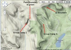 Rock Climbing Photo: This area with a couple others marked on topo map....