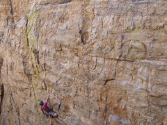 Rock Climbing Photo: Shaking out at the final rest on Crime and Punishm...