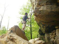 Rock Climbing Photo: Glenn Penny ready for the full dyno onto Toker.