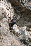 Rock Climbing Photo: John Ross, above the first chains and climbing int...