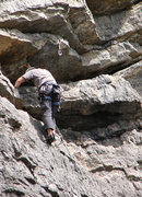 Rock Climbing Photo: John Ross arriving at the last roofs, about 120 fe...