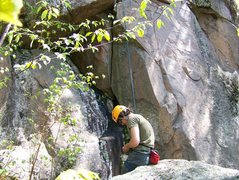 Rock Climbing Photo: About to rope up with the crack in view
