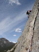Rock Climbing Photo: Chris starting up the J-Crack money pitch.