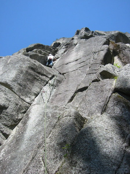 Rock Climbing Photo: Rolf finishing Daydream Believer.