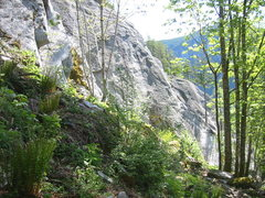 Rock Climbing Photo: Overview of the center section of Ronin's Corner. ...