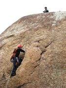 Rock Climbing Photo: Derrill on the rotten flake.  This flake won't be ...