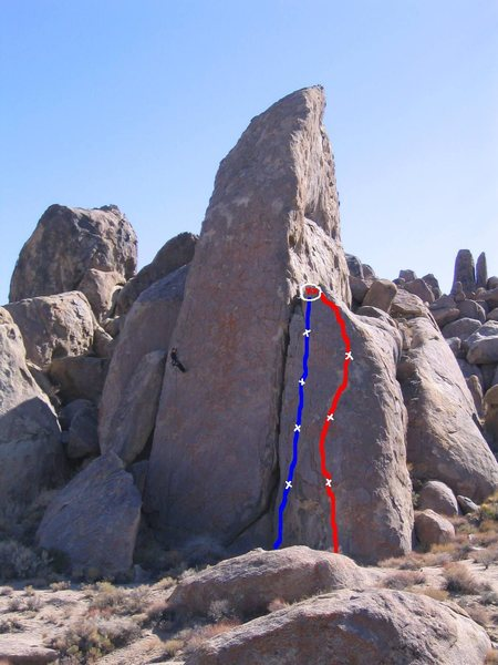 'Death Of A Cowboy'(5.7) is marked in blue (4 bolts, Mussey's for anchors). In the red is 'The Quick And The Dead' (also 5.7). Original photo by outdooreric