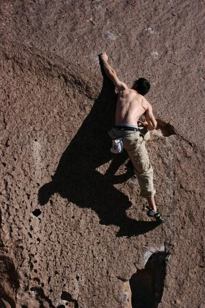 "Rock Climbing Photo: Pulling the ""crux"""