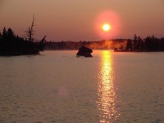 Rock Climbing Photo: Sunrise on Thomas Lake, Boundary Waters, MN.  July...