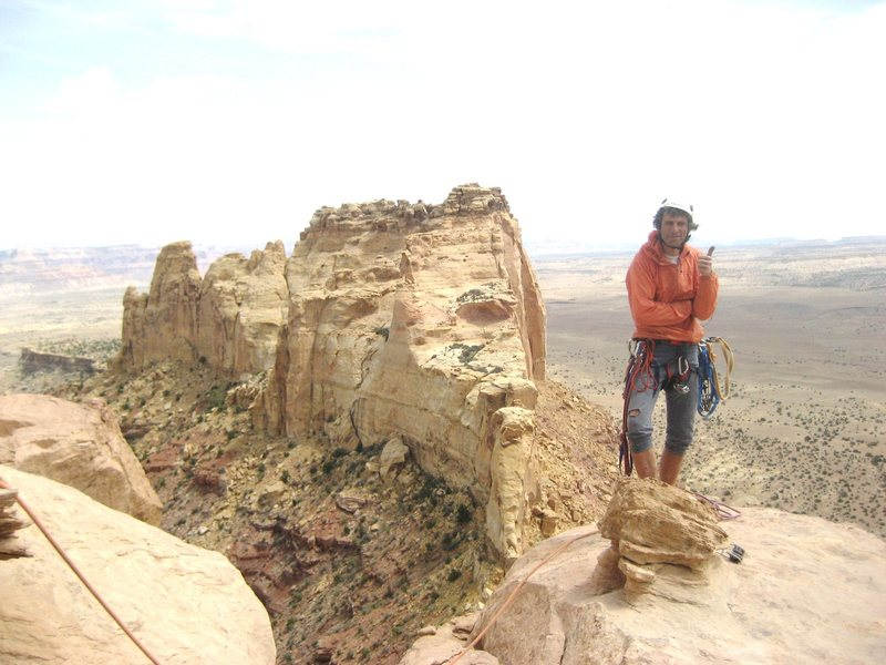 Jim happy with the first ascent of a desert tower