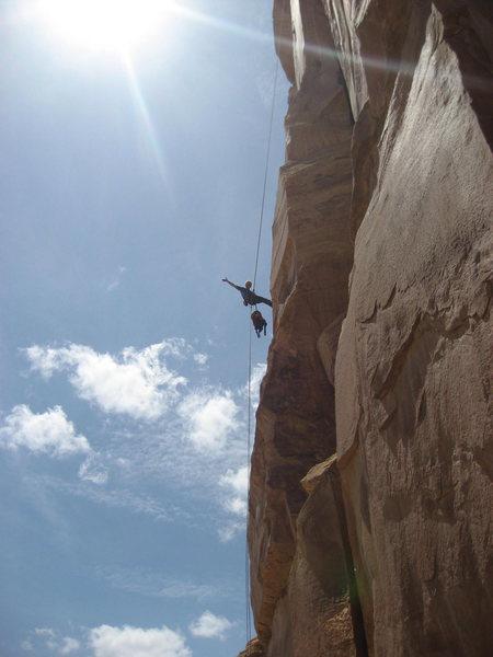 Rock Climbing Photo: Gene rapping down