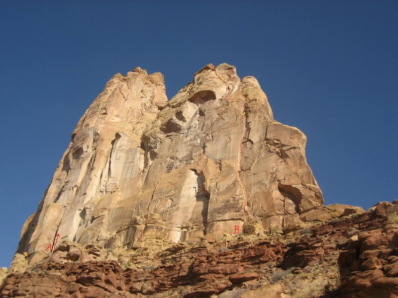Rock Climbing Photo: The Routes :- A) Ozymandias. B) Live Free or Die.