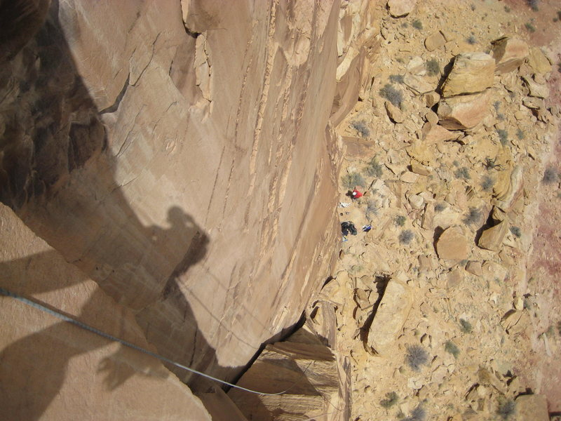 Rock Climbing Photo: Looking down first pitch . photo Jim Shimberg