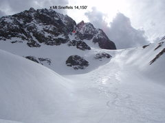 Rock Climbing Photo: Our lines after skiing the north face of Mt Sneffe...