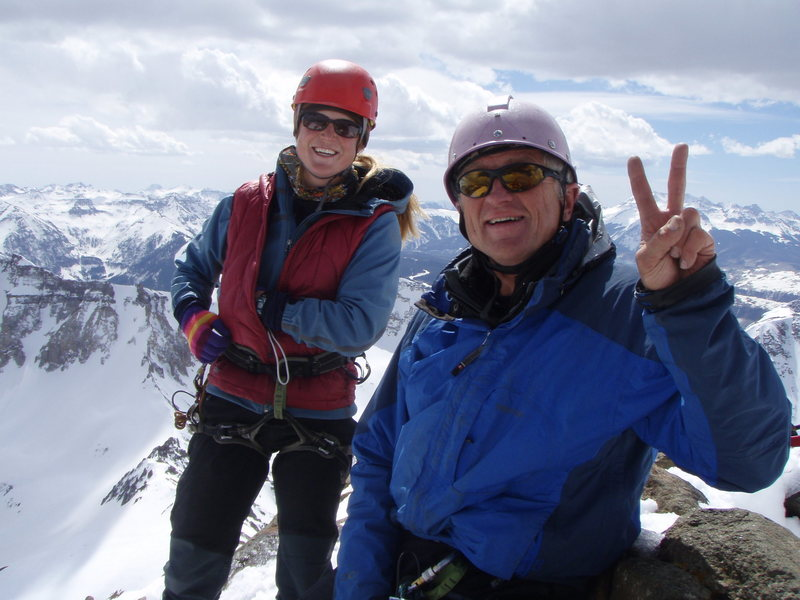 Joe Ryan (givin' the V for Victory) and daughter Kelly on the summit of Mt Sneffels 03/09