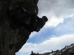Rock Climbing Photo: Alec Solimeo on a project, probably a V6-V7.