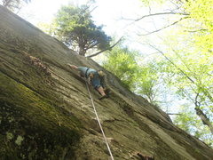 Rock Climbing Photo: Shane Soucy leading Cloak+Dagger at the slab wall