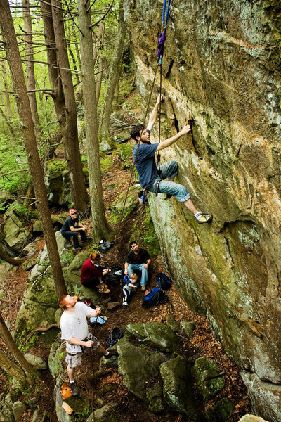 Rock Climbing Photo: Andrew on a short overhanging wall to the right of...
