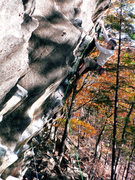 Rock Climbing Photo: Cliff flashing his second lead ever.