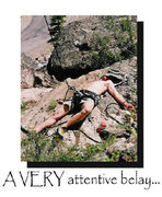 Rock Climbing Photo: WHAT THE HELL IS HE BELAYING WITH!?!