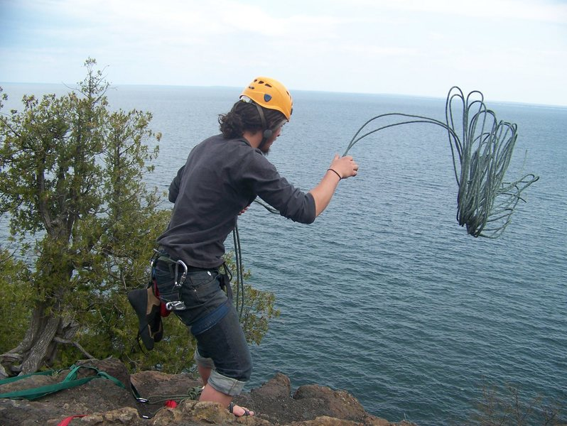 Rock Climbing Photo: me pitching the rope