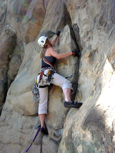 Rock Climbing Photo: Lyn leading Marry Me Becky on the section just bel...