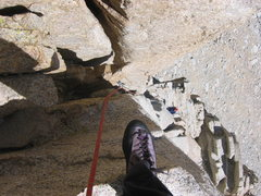 Rock Climbing Photo: Looking down pitch 6, the 5.8 chimney. Fun.