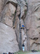 Rock Climbing Photo: Tom Woods on the slabby arete at the start.  Lora ...