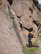 Rock Climbing Photo: Lora Woods starting up the slabby arete. Tom Woods...