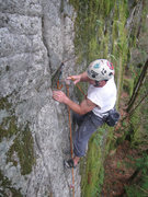 Rock Climbing Photo: Clipping the fixed pin.