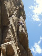 Rock Climbing Photo: Andy working the stem in the dihedral - Photo by J...