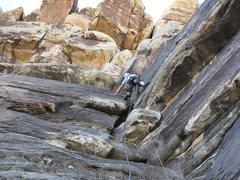 Rock Climbing Photo: Brett swims up Friendship Route p1.