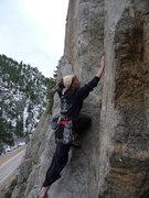 Rock Climbing Photo: lisa climbing in the canyon