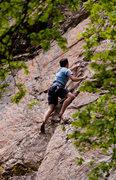 Rock Climbing Photo: Matt heading up the slab.