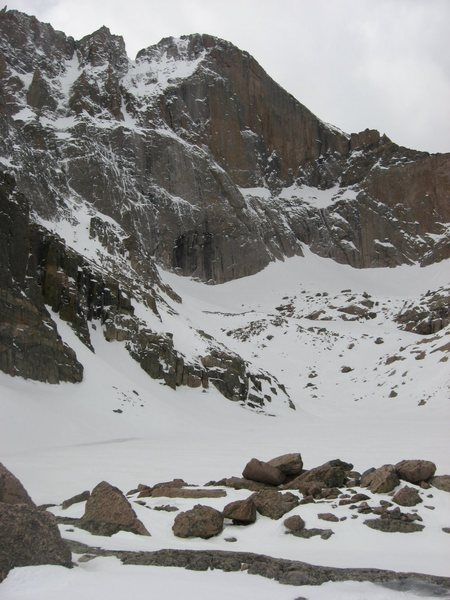 Longs Peak conditions on 5/8/09.  Spring in name only.