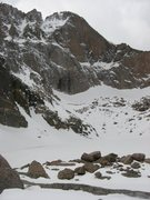 Rock Climbing Photo: Longs Peak conditions on 5/8/09.  Spring in name o...