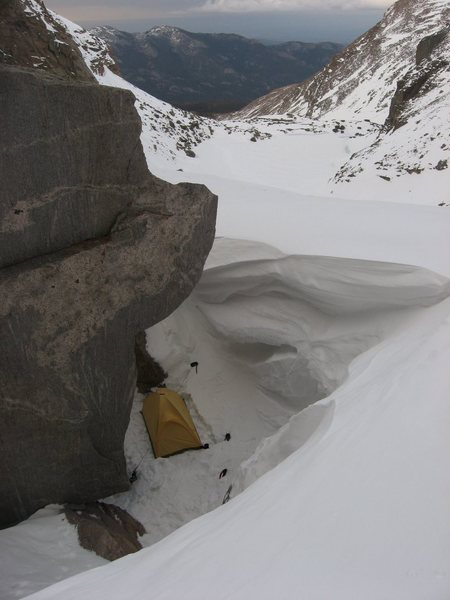 Really cool bivi on Mills glacier.  5-8-09. The seasonal snowpack was at least fifteen feet deep at this point.