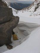 Rock Climbing Photo: Really cool bivi on Mills glacier.  5-8-09. The se...