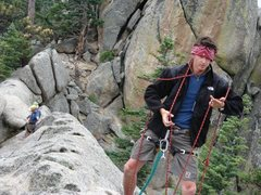 Rock Climbing Photo: Setting up to instruct on Hogback Ridge (private).