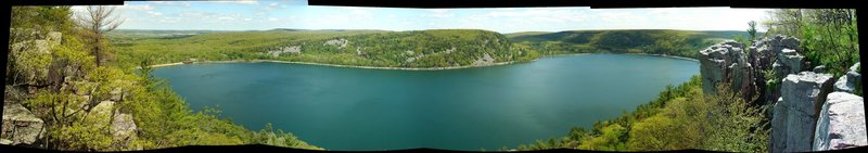 Panoramic from Prospect Point, West Bluff, Devil's Lake. May 14, 2009.