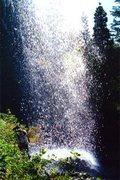 Rock Climbing Photo: Looking back through the ephemeral falls next to t...