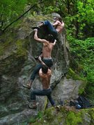 Rock Climbing Photo: Aaron on what we call Careers and Kids V4... huge ...