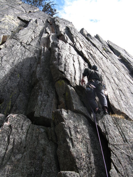 Rock Climbing Photo: Kieth with a wide crack start