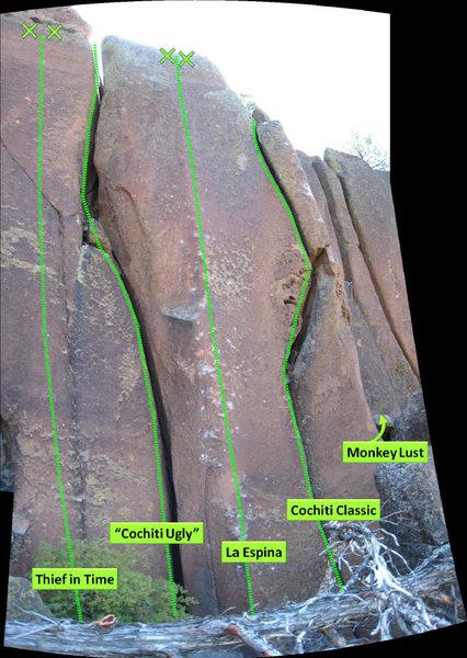 Rock Climbing Photo: Thief in Time, Cochiti Ugly, La Espina, Cochiti Cl...