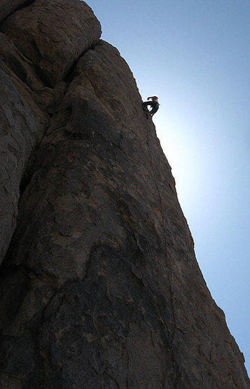 Climbing on &quot;Ghost Dance&quot;.<br> Photo by Blitzo.